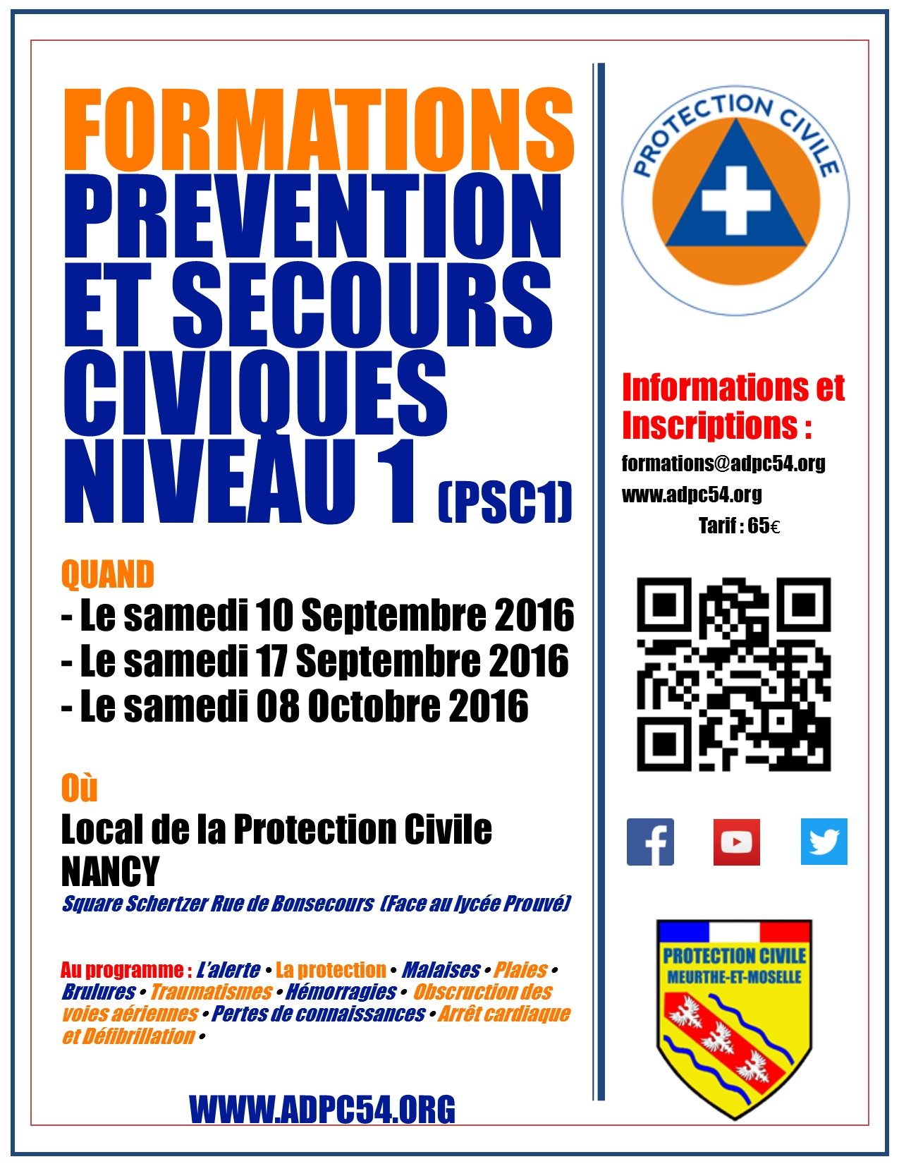 Affiche formations PSC 1